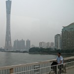 china tower with cyclist