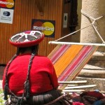 Quechua indian and loom and Mastercard